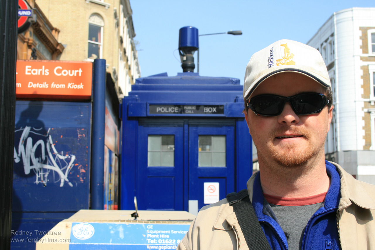 Rodney in front of the TARDIS.