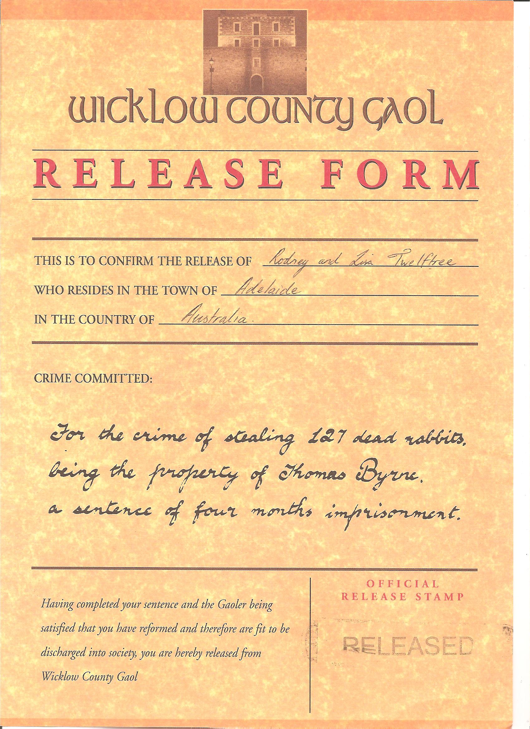 Jail Release Form