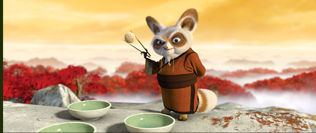 Master Shifu, voiced by Dustin Hoffman.