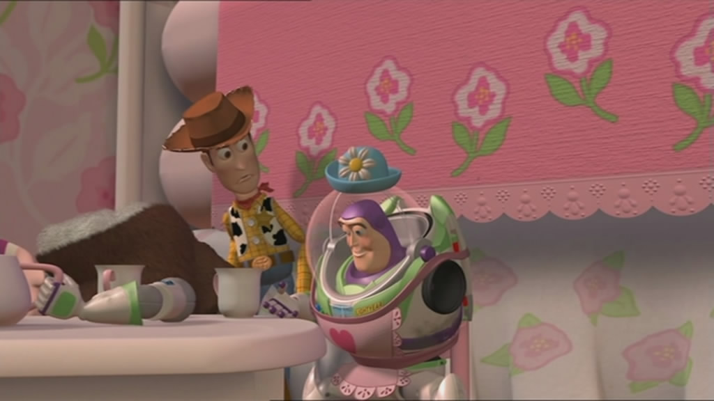 Buzz flips out, and takes high tea with Mrs Nesbitt. Woody can't understand it.