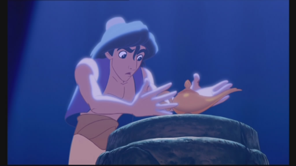 Aladdin grasps the lamp...