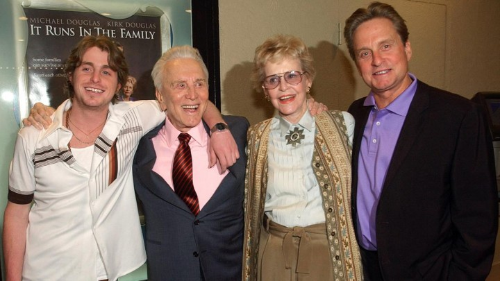 Diana Douglas with members of her famous family - Michael Douglas (R), Michale's son Cameron (L) and former husband Kirk Douglas (Center left), in 2003.