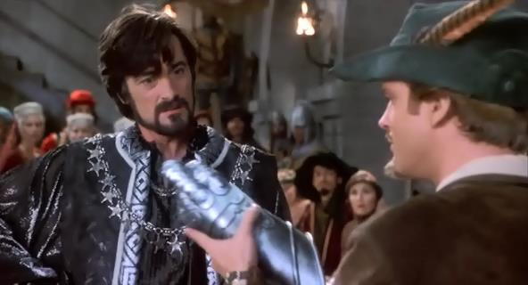 Roger Rees (left) with Cary Elwes (right) in Robin Hood: Men in Tights.