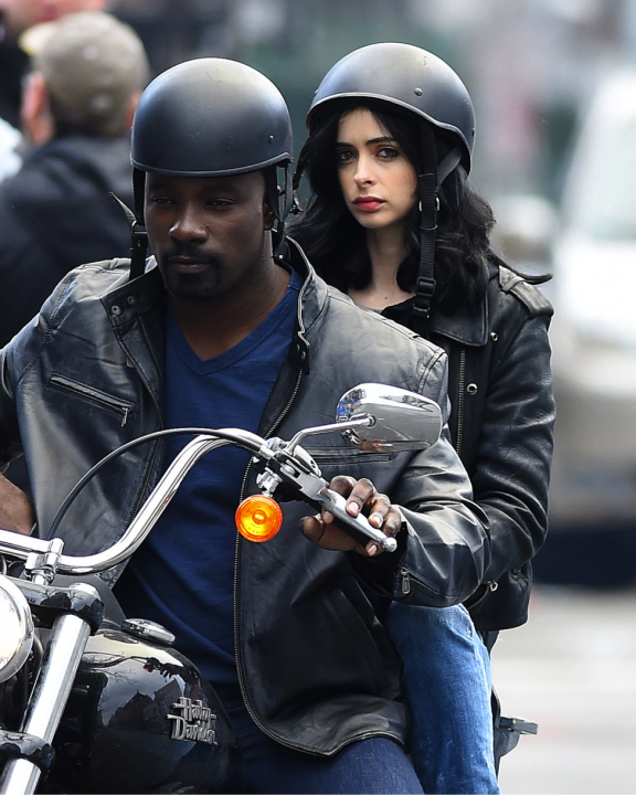 "Mike Colter (L) and Krysten Ritter (R) on the set of Marvel's upcoming Netflix series, ""Jessica Jones""."
