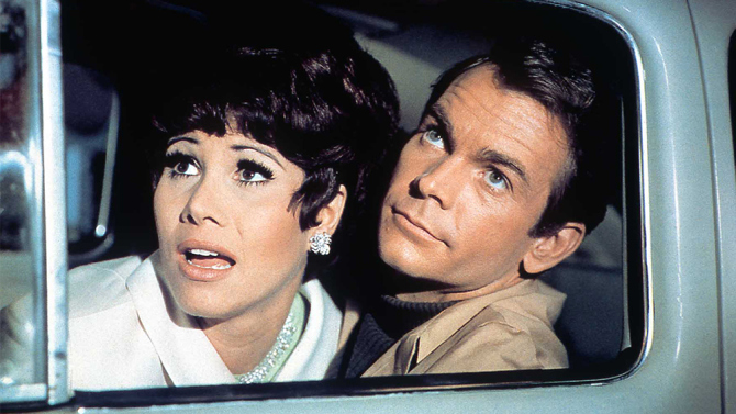 Michelle Lee (L) and Dean Jones (R) in The Love Bug, 1969.