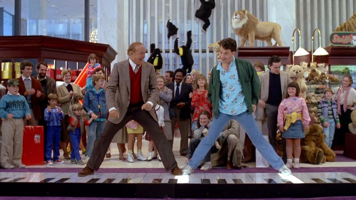 """Robert Loggia and Tom Hanks in one of the most famous scenes in """"BIG"""", 1988."""