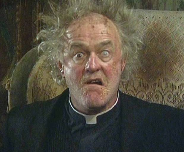 "Frank Kelly as Father Jack, in ""Father Ted""."