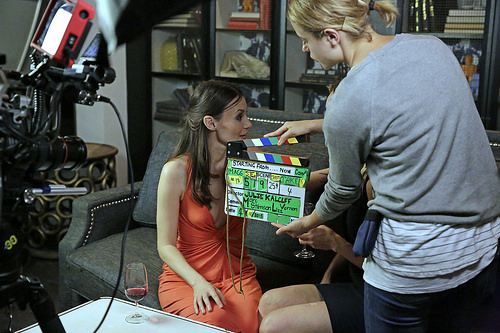 A clapper-board tries in vain to steal the limelight from Lauren Orrell on the set of Starting From Now!