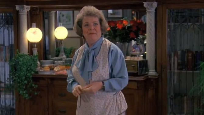 Angela Paton as Mrs Lancaster in 1993's Groundhog Day.