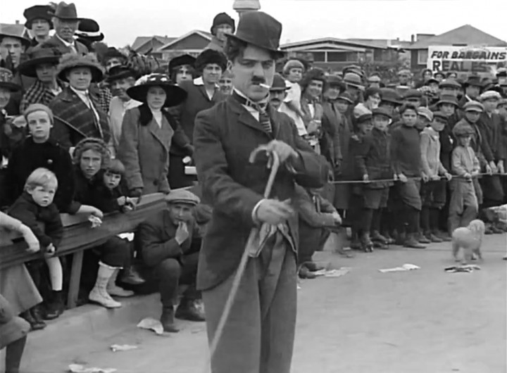 "Kid Auto Races At Venice - The first appearance of Chaplin's ""Little Tramp"""