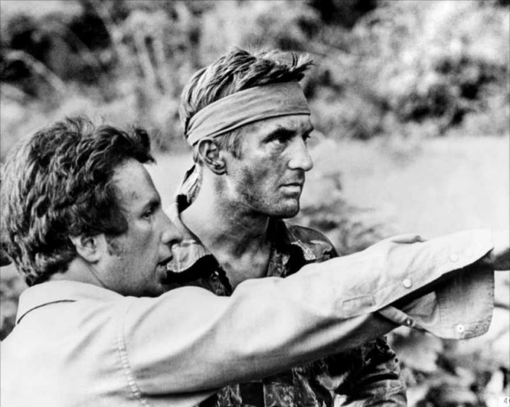 "Michael Cimino directing Robert DeNiro on the set of ""The Deer Hunter""..."