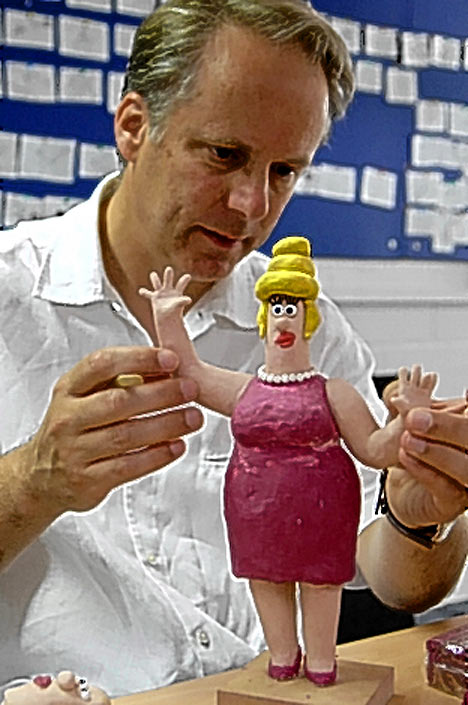 Nick Park puts the finishing touches on Piella Bakewell.
