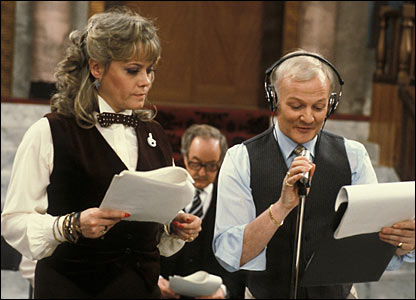 Wendy Richard as Miss Brahms, with co-star John Inman on the set of Are You Being Served?