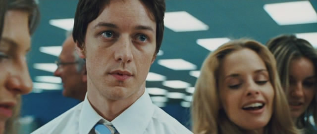 James McAvoy is Wesley, a stressed out office worker who is about to have a change of career.