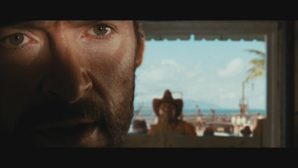 Hugh Jackman, as The Drover, makes his entrance.