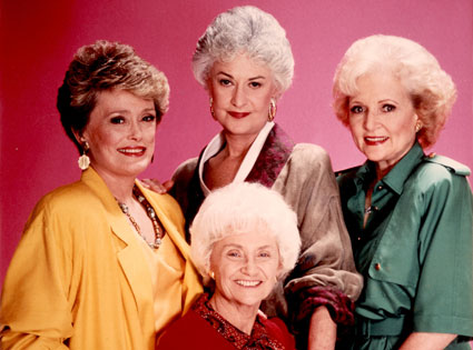 Bea Arthur (Center, rear), with fellow Golden Girls cast members, from left, Rue McClanahan, Estelle Getty, and Betty White