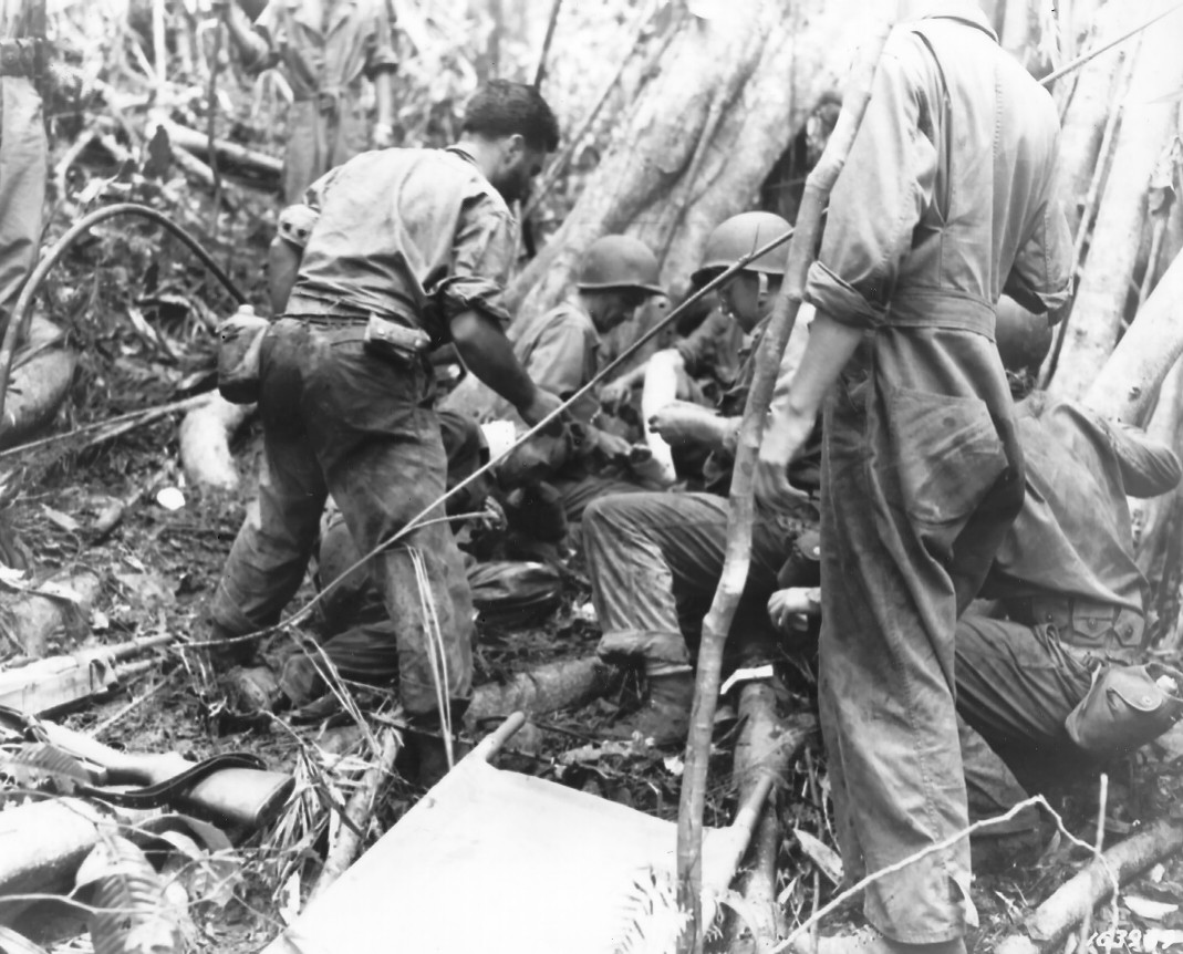 Litter bearers on Guadalcanal.