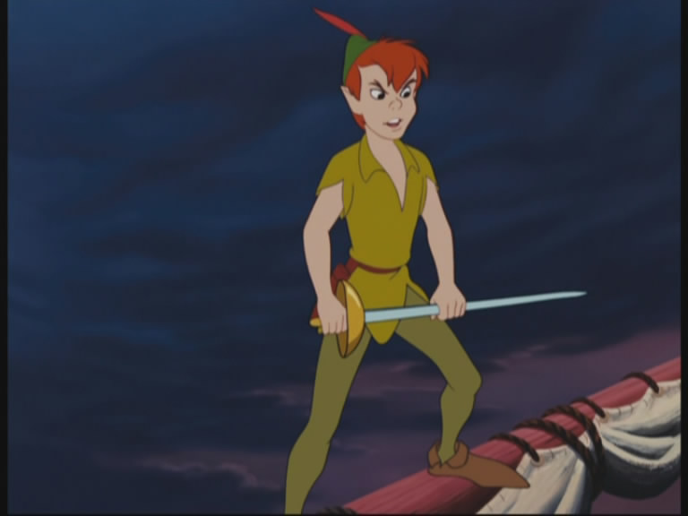 Peter Pan playing with his sword...