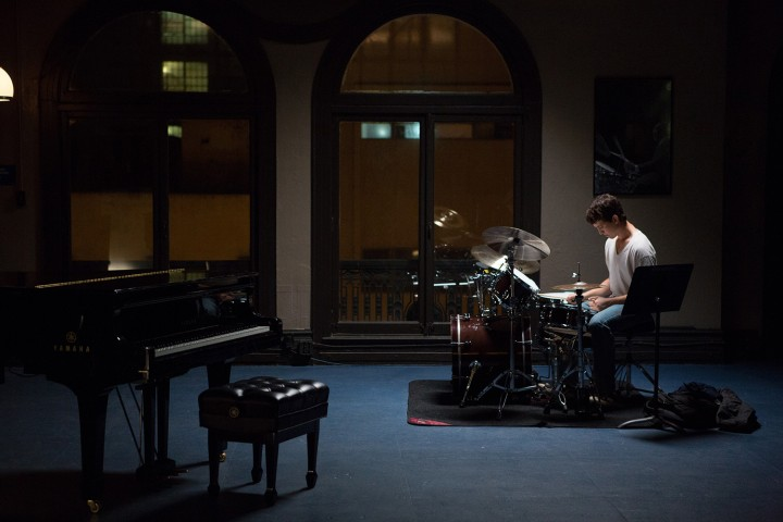 He's alone. But don't worry, he's just a drummer.