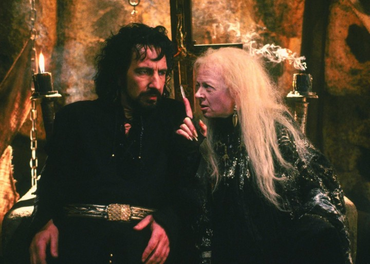 Geralddine McEwan (R) in a scene from Robin Hood: The Prince Of Thieves, alongside Alan Rickman (L), in 1991.