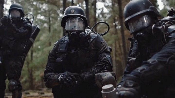 Luke McKenzie (Center) on location for Wyrmwood.