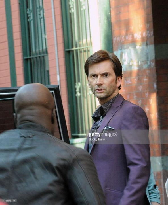 "David Tennant on the set of ""Jessica Jones"", as The Purple Man. (C) Getty Images."