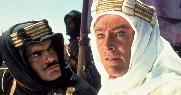 Omar Sharif (left) with Peter O'Toole (right) in David Lean's 1963 film, Lawrence Of Arabia.