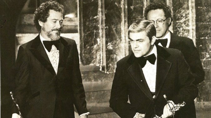 Bob Minkler (L), Don McDougall (Front) and Ray West (Obscured, at rear) receiving the Academy Award for Best Sound, at the Oscars in 1978.