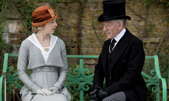sir-ian-mckellen-talks-to-an-actress-on-the-set-of-mr-holmes