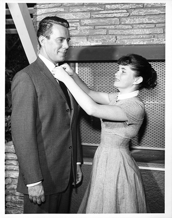 Bachelor Father star John Forsythe with Noreen Corcoran on set, circa 1961.