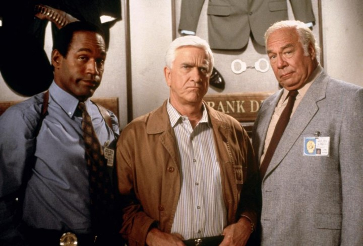 OJ Simpson, Leslie Nielsen and George Kennedy in a promotional shot for The Naked Gun.