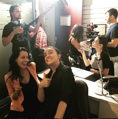 Rosie Lourde (L), Gretel Killeen (C) and Lauren Orrell (R) on set during production of SFN Series 4 + 5